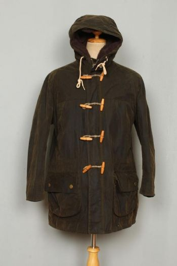 BARBOUR Kirkham Hooded WAX DUFFLE Coat Olive Large
